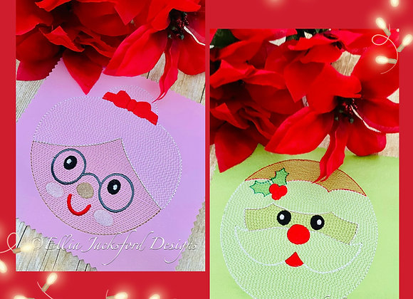 Santa and Mrs. Sketch Circle Embroidery Design 3 SIZES