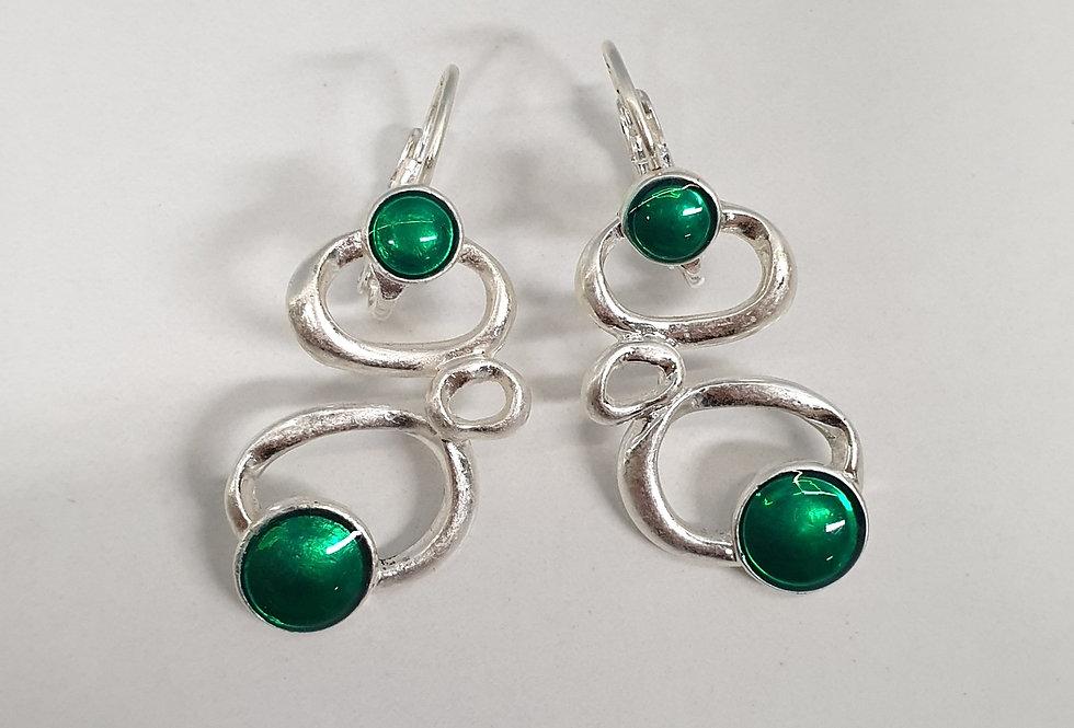 Oorbellen Spiral Green