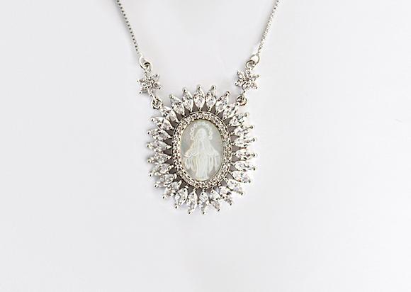 Medalha Milagrosa de Nossa Senhora em Madrepérola Ouro Branco JOYARD