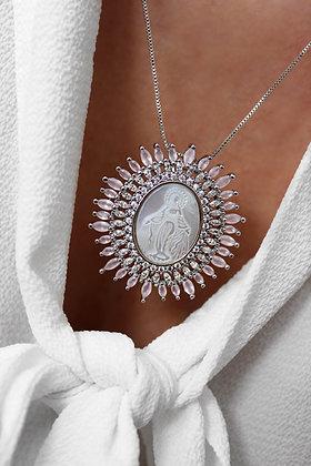 Medalhão Nossa Senhora Zircónias Coloridas