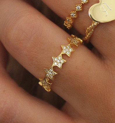 Anel Estrelas Prata 925