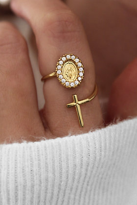 Anel MyFaith JOYARD Medalha Milagrosa e Cruz