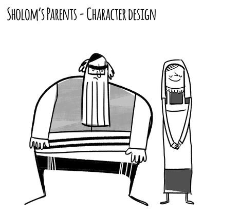 Sholom's parents character design