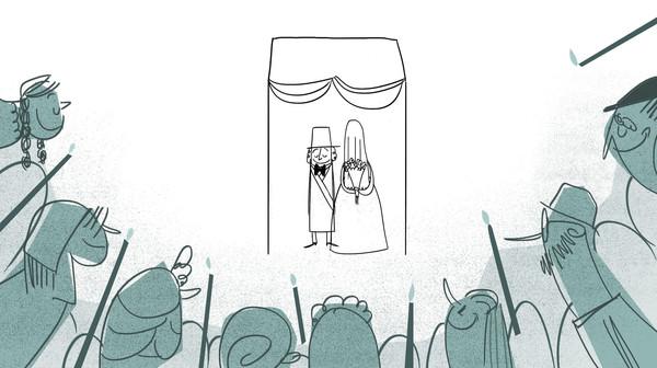 Sketch of wedding scene from Sholom's dreams