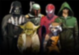 Museum statues and suits of Star Wars and Comicbook characters, which include Darth Vader, Boba Fett, Yoda, Spiderman, Rocket Raccoon, and Green Arrow