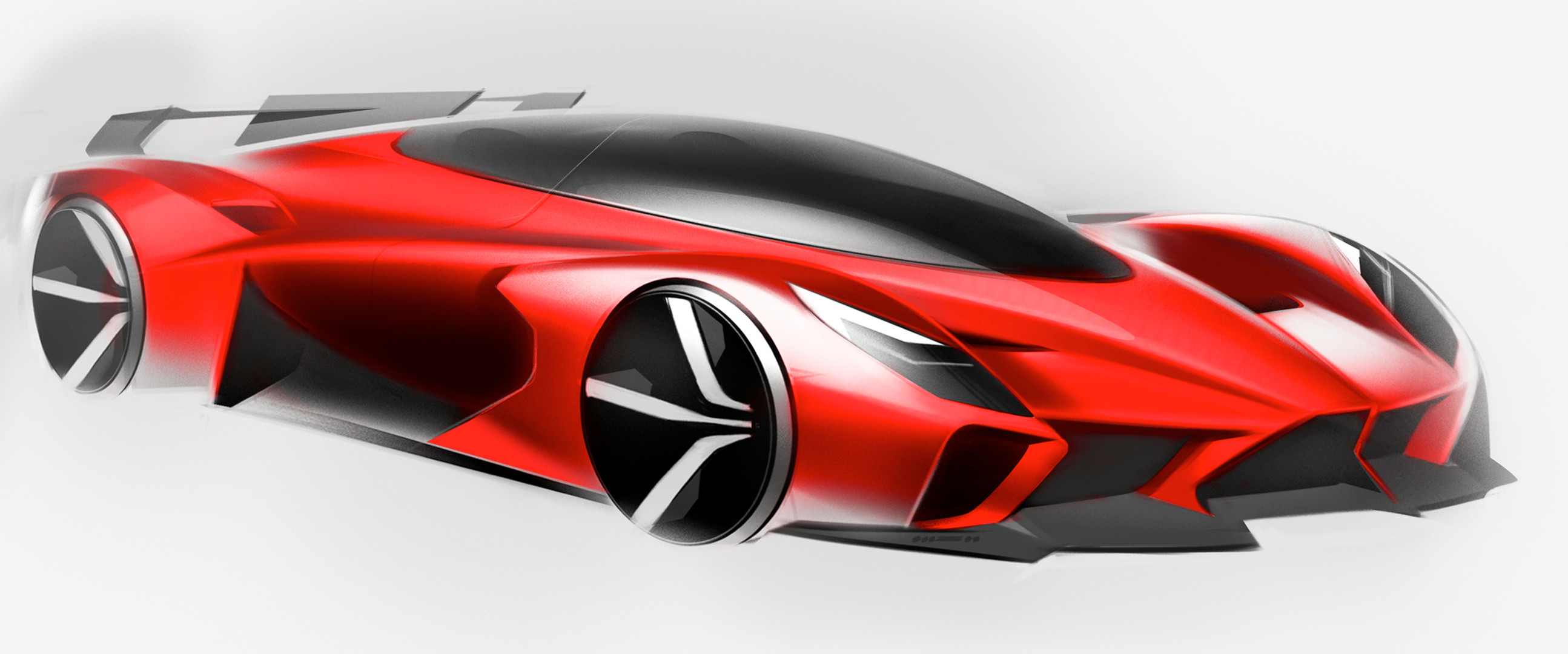 Front Right Side View Drawing Red