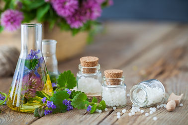 Vials of tincture or infusion of healthy