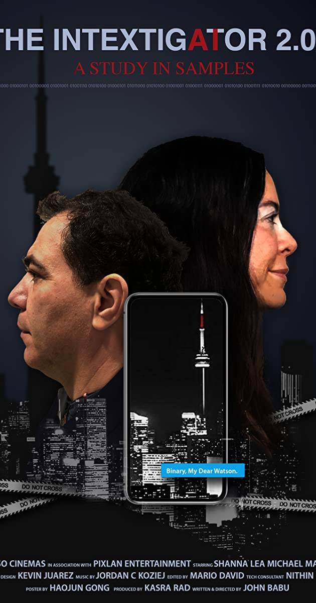 A man and a woman's heads face in different directions over a city skyline while a mobile phone sits between them in the foreground.
