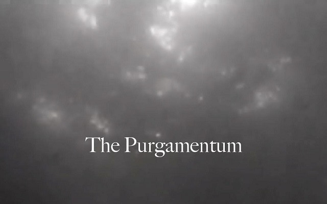The words 'The Purgamentum' are written against a black and white backdrop of a view from underneath murky water.