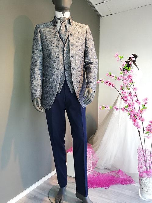 Eleganter Royal-Anzug, blau-silber, slim fit, 2-teilig