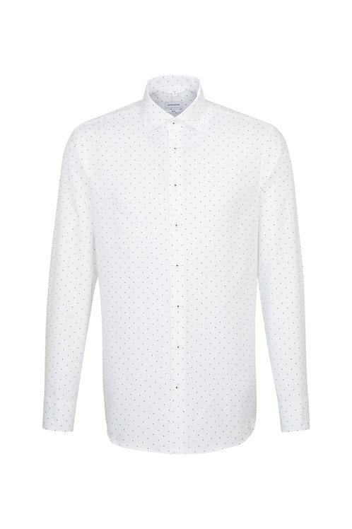 Seidensticker - Hemd weiß, Punkte blau, slim