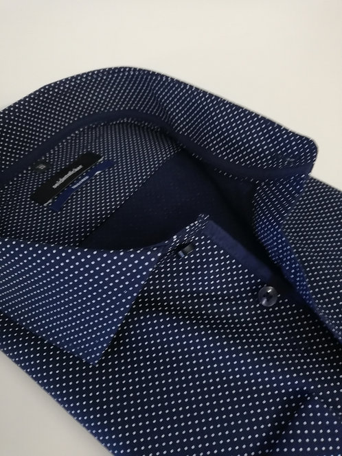 Seidensticker - Hemd ELA 71 cm shaped Fit blau Punkte weiß P3