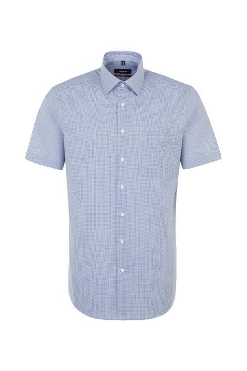 Seidensticker - Halbarm Hemd Feinkaro blau modern Fit