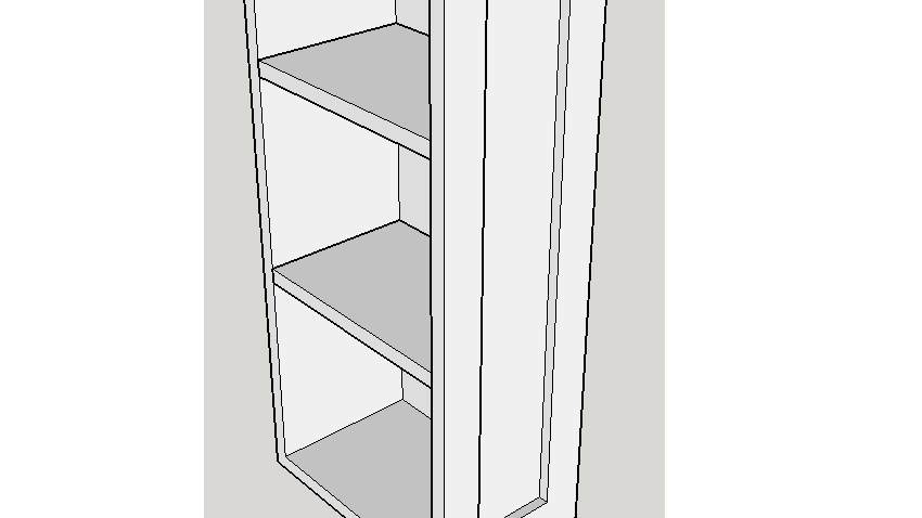 """36"""" Wall Cabinet, 1 Door 2 Shelves"""