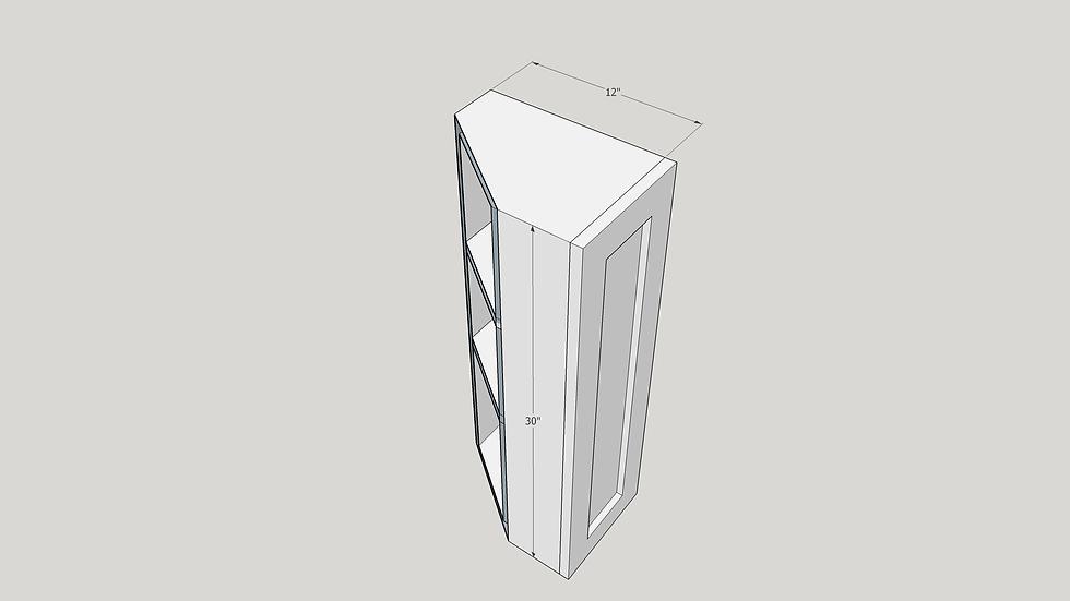 """30"""" Wall Cabinet, 1 Door 2 Shelves"""