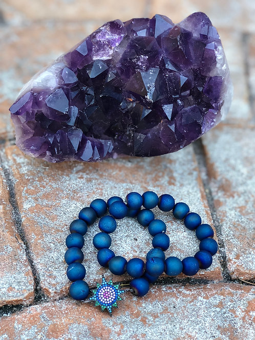 Electric Blue Agate with Evil Eye single