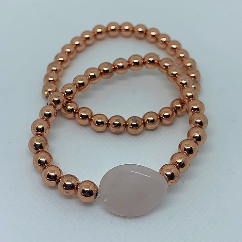 Rose Gold Hematite with Rose Quartz Crystal