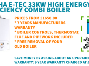 NEW PROMOTIONAL OFFER: ALPHA E-TEC 33KW HIGH EFFICIENCY COMBI BOILER