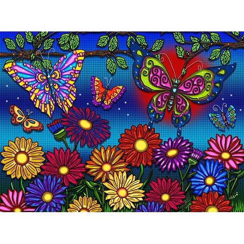 Jacarou - Fleurs & papillon 300 pcs XXL