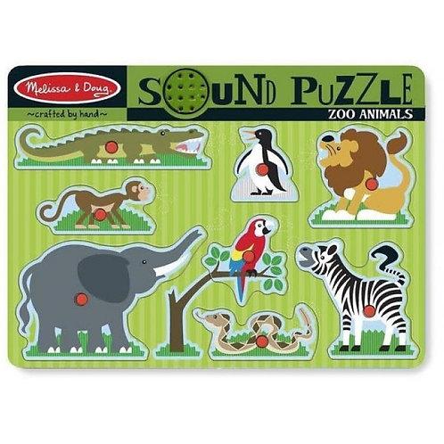 Melissa & Doug - Puzzle à boutons sonore - Animaux du zoo