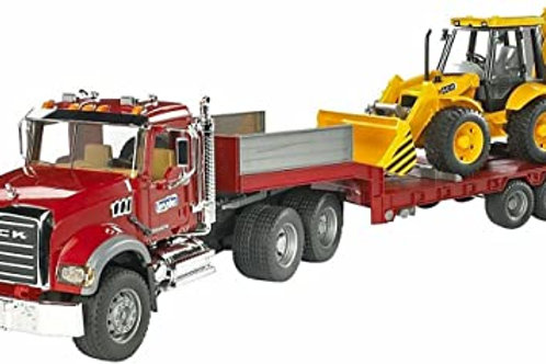 Bruder - Camion transporteur Mack avec Tractopelle