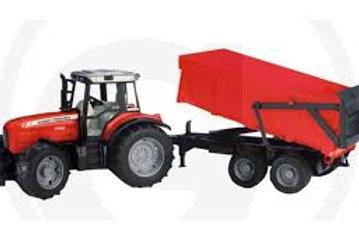 Bruder - Tracteur et remorque dompeuse Massey Ferguson