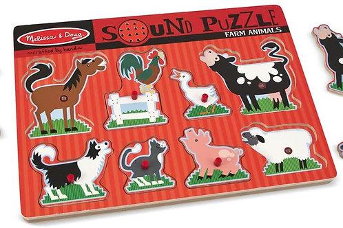Melissa & Doug - Puzzle à boutons sonore - Animaux de la ferme