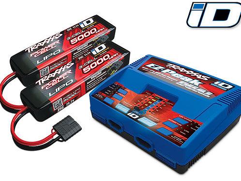 Traxxas - Combo Pile/Chargeur double avec 2 Lipo 11.1v (3s) 5000 mah