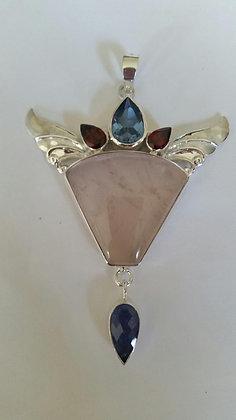 Rose Quartz, blue topaz, garnet, tanzanite