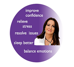 improve confidence,relieve stress,resolve issues,sleep better,balance emotionsall inside purple circle with debbra shcembri energy healer