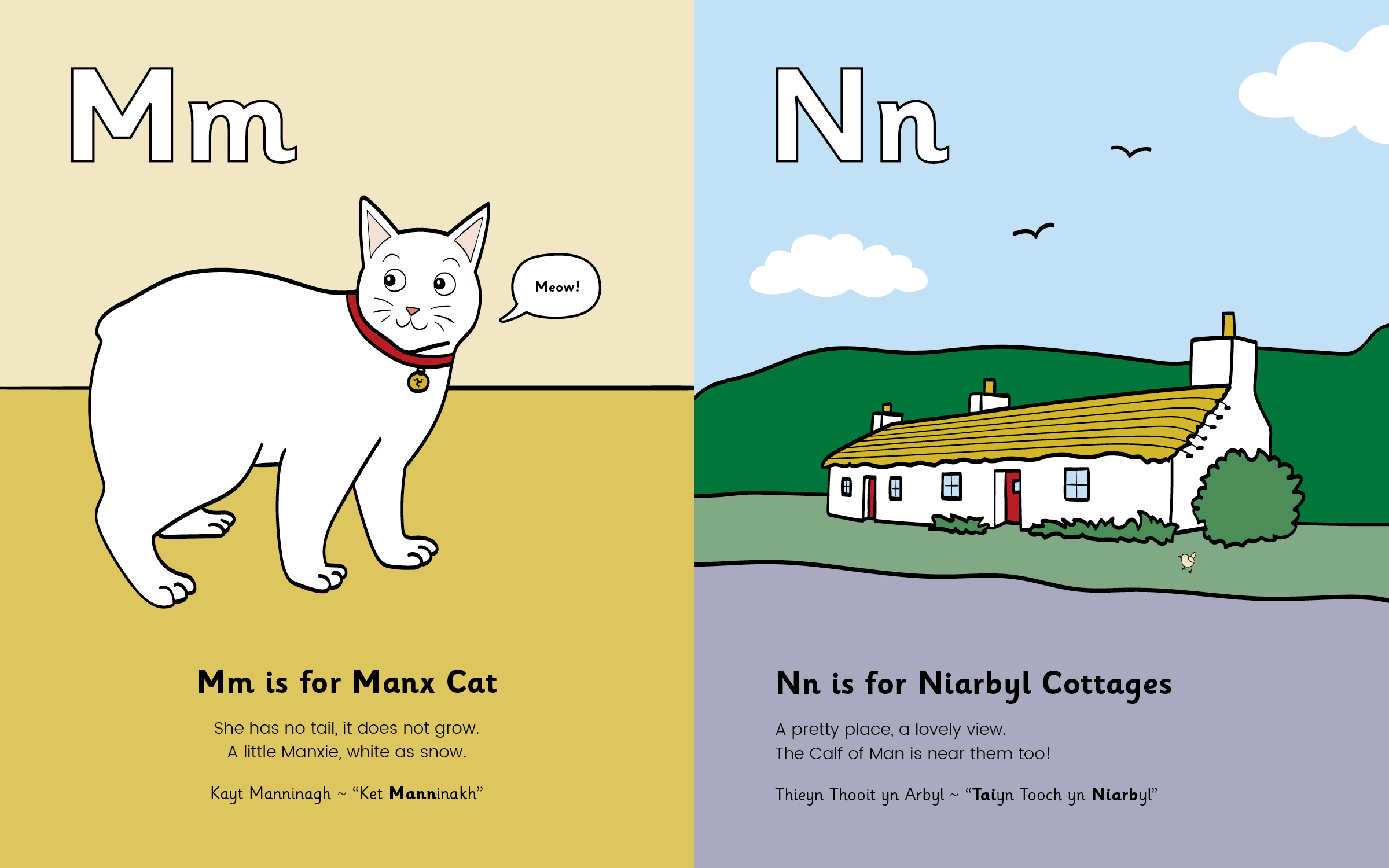 Mm is for Manx Cat, Nn is for Niarbyl Cottages