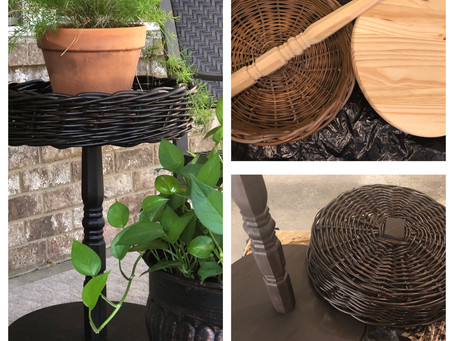 The caterpillar becomes a butterfly; a thrift store basket is transformed into a chic, outdoor table