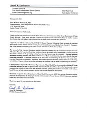 Letter to health commissioner on Vaccine
