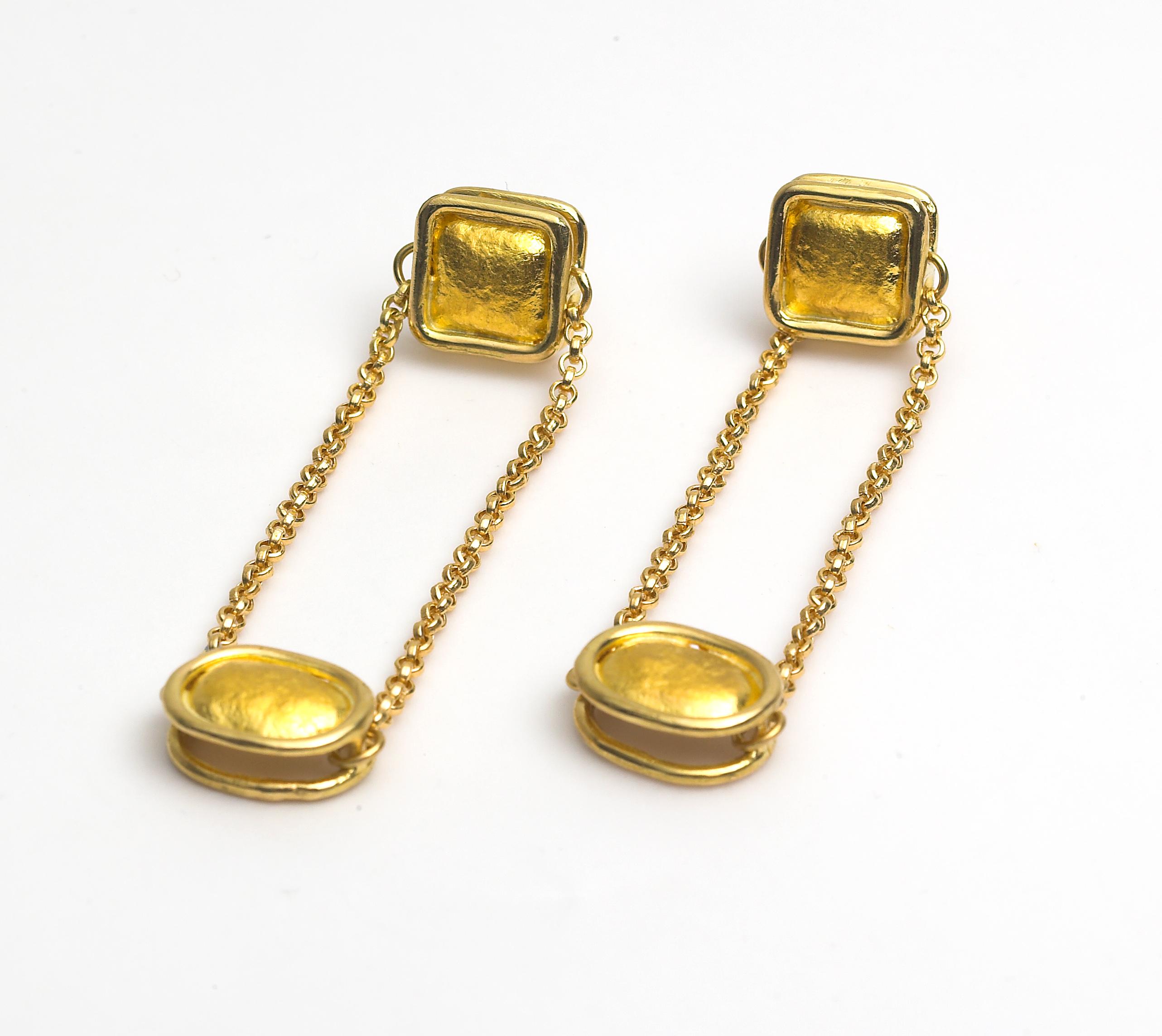 Earrings in 24kt & 18kt gold