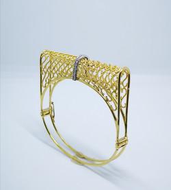 Bracelet in 22kt & 18kt gold with brilliant diamonds