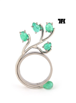 Ring in 18kt gold & Emeralds