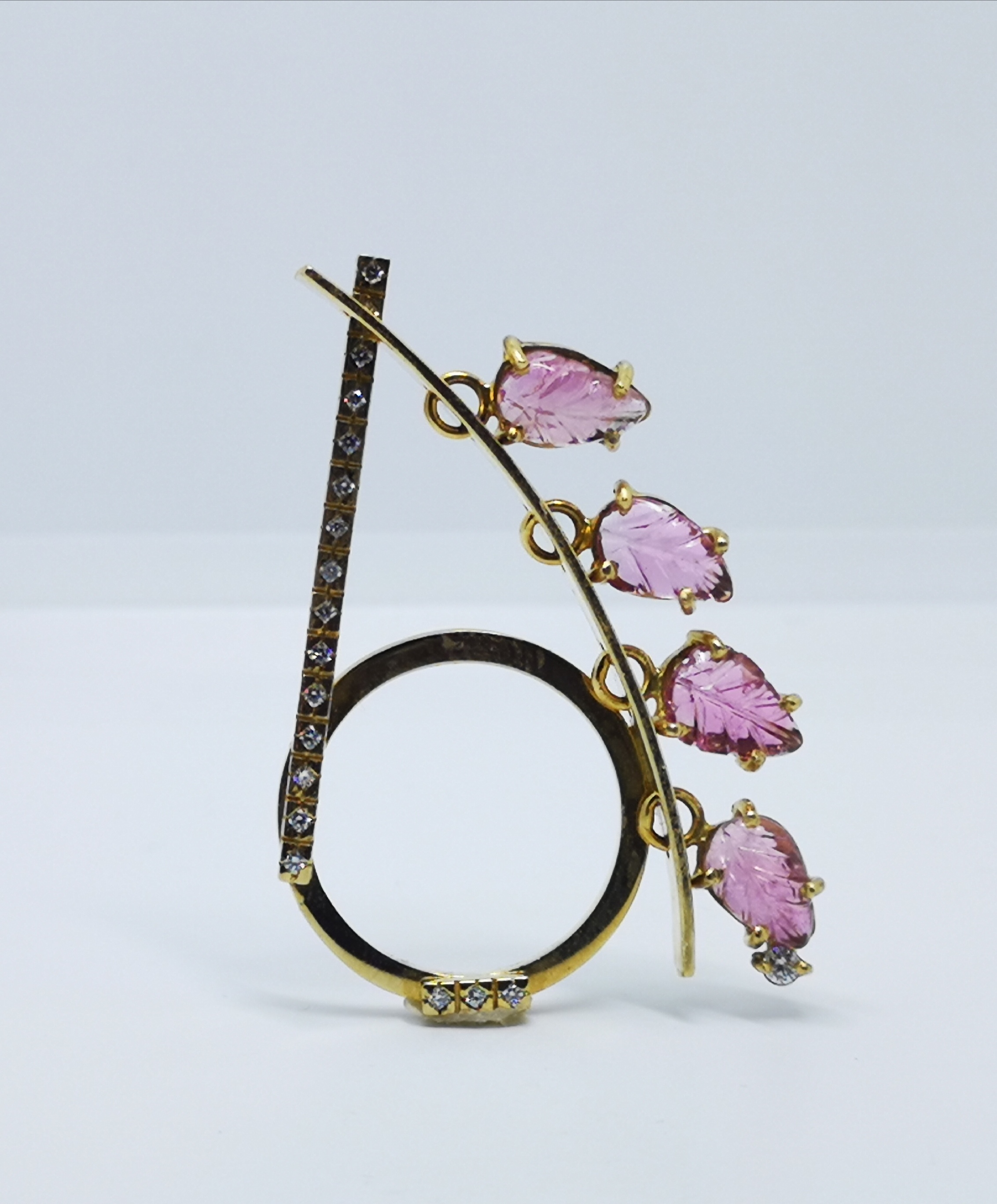 Ring in 18kt gold with Pink Tourmalines & brilliant diamonds