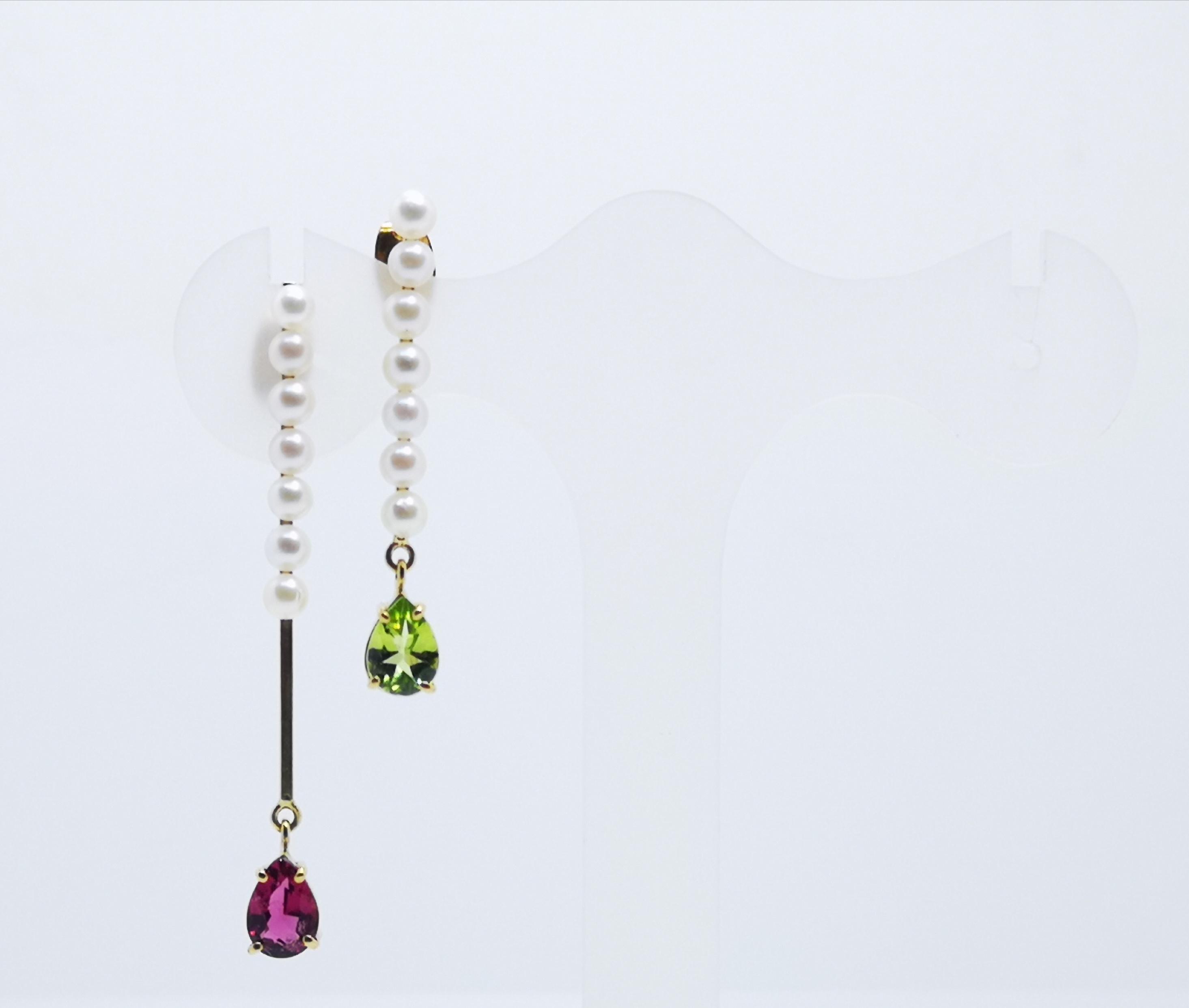 Earrings in 18kt gold with Peridot, Rhodalite & Pearls