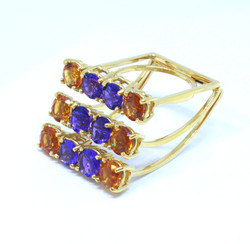 Ring in 18kt gold with Amethysts and Citrines