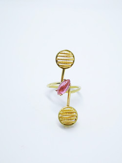 Ring in 22kt & 18kt gold with Pink Tourmaline