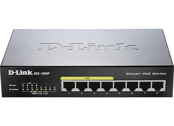 D-Link DGS-1008P Netzwerk Switch 8 Port 1 GBit/s PoE-Funktion