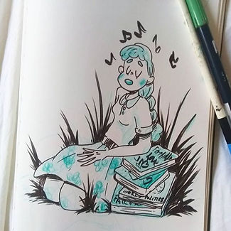 Doodl of webcomic character _) ⚛️⚛️⚛️⚛️⚛