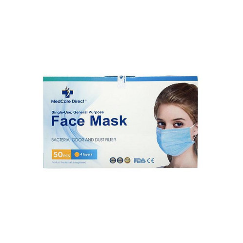 50 PCs Disposable Face Mask | 4 Layers of Protection | @MedCare Direct