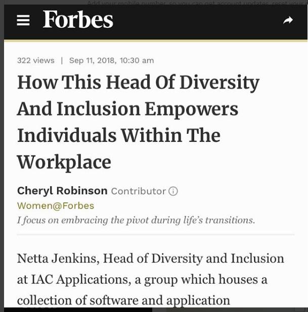 Woo Hoo! Netta Jenkins story is in Forbes com!