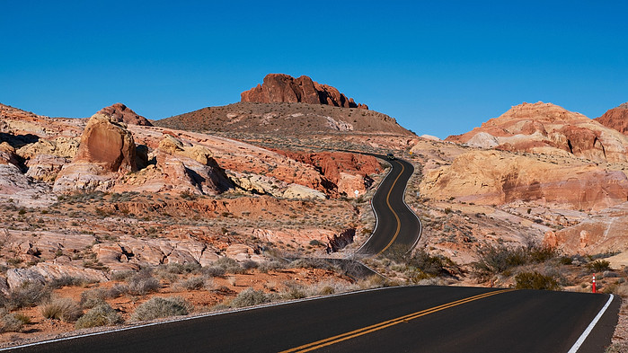 The main road that cuts through the Valley of Fire State Park, Nevada, USA