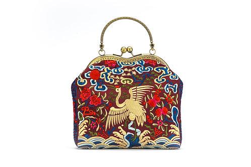 Traditional Silk Embroidered bag - Crane