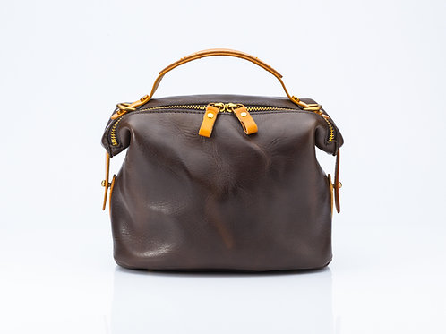 Black Bowler/Dark Tan Bowler Bag with Tan Detailing