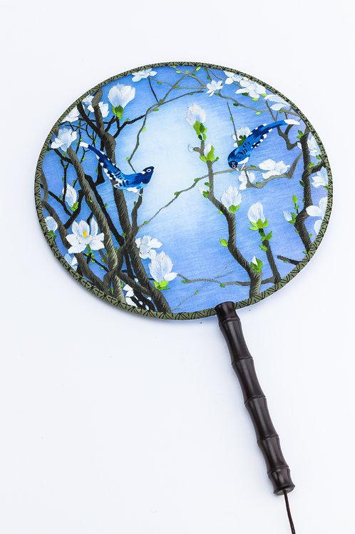 White Flower and Bird Hand Fan