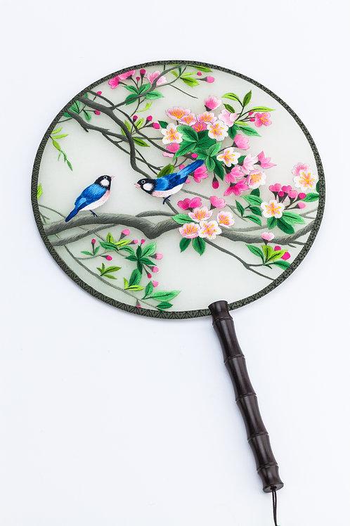 Pink Flower and Blue Bird Hand Fan