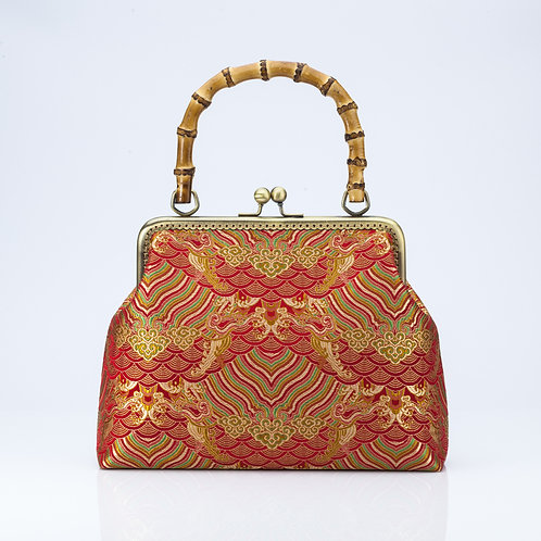 Traditional Brocade Bag with Red and Gold detail